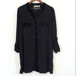Susan Graver QVC Black Velvet Trim Button Up Top